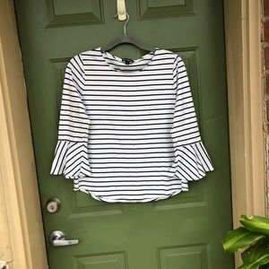 J Crew Stripped Bell Sleeve Top